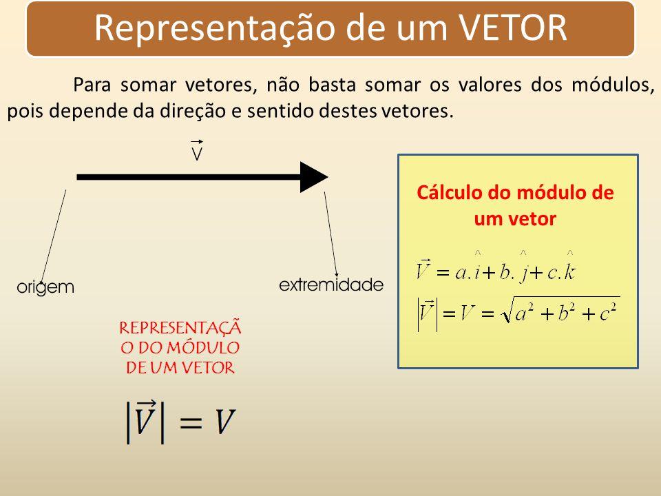 Grandezas escalares e vetoriais Vetor Grandeza vetorial é representada por uma intensidade ou módulo e a unidade de medida, por uma direção e um sentido.