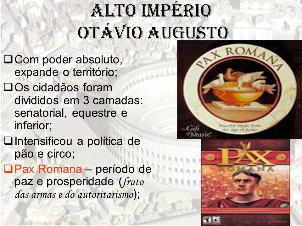 Alto Império Otávio Augusto  Com poder absoluto, expande o território;  Os cidadãos foram divididos em 3 camadas: senatorial, equestre e inferior; 
