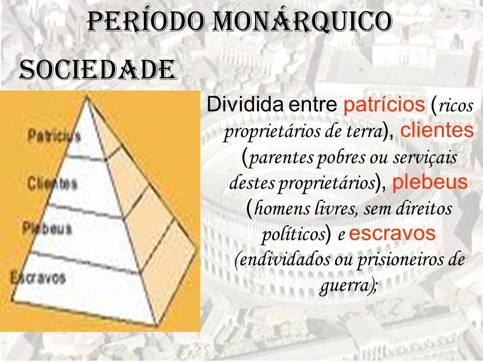 Período Monárquico Dividida entre patrícios ( ricos proprietários de terra ), clientes ( parentes pobres ou serviçais destes proprietários ), plebeus