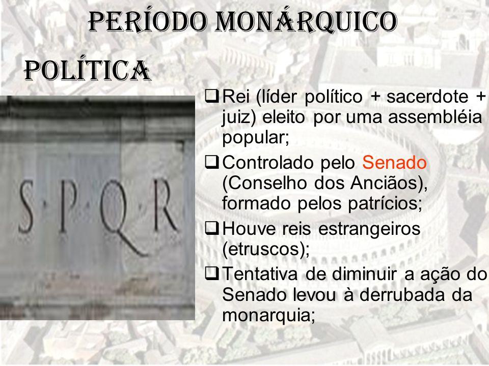 Período Monárquico  Rei (líder político + sacerdote + juiz) eleito por uma assembléia popular;  Controlado pelo Senado (Conselho dos Anciãos), forma