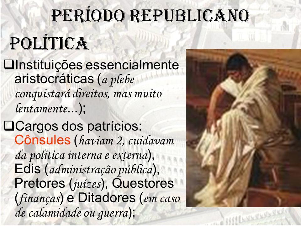 Período Republicano  Instituições essencialmente aristocráticas ( a plebe conquistará direitos, mas muito lentamente...);  Cargos dos patrícios: Côn