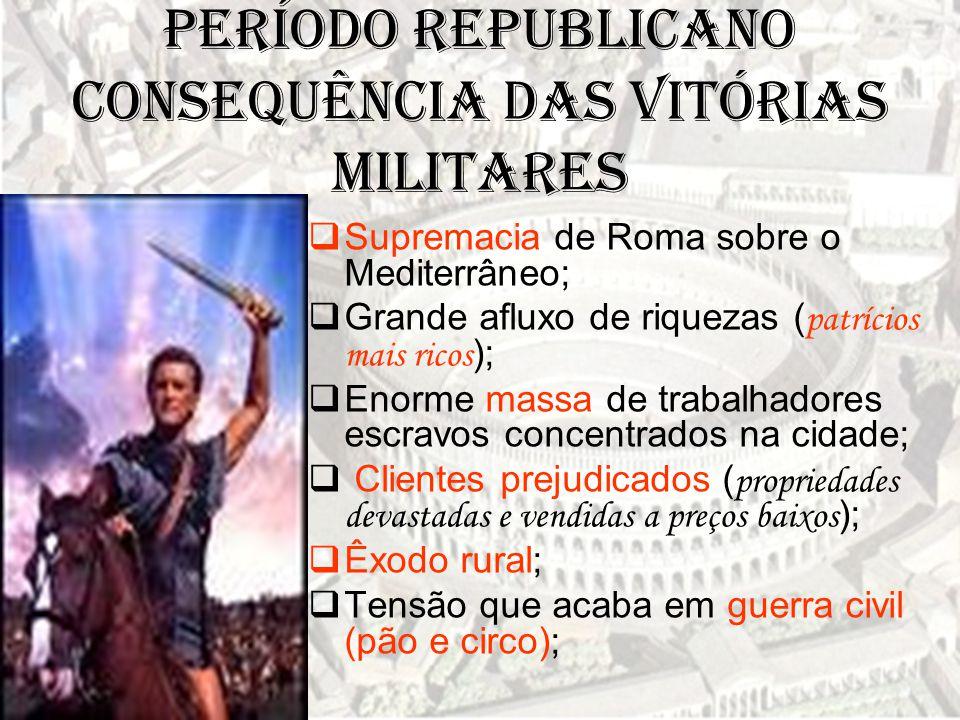 Período Republicano  Supremacia de Roma sobre o Mediterrâneo;  Grande afluxo de riquezas ( patrícios mais ricos );  Enorme massa de trabalhadores e