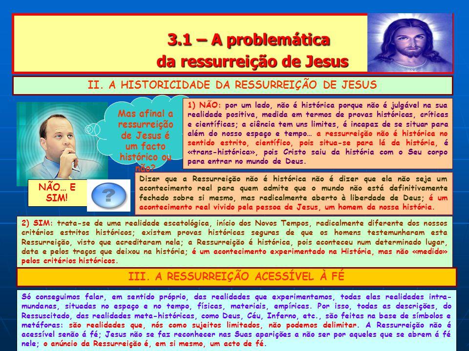 3.1 – A problemática da ressurreição de Jesus 3.1 – A problemática da ressurreição de Jesus II.