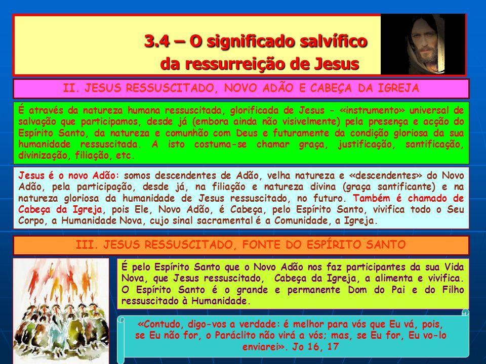 3.4 – O significado salvífico da ressurreição de Jesus 3.4 – O significado salvífico da ressurreição de Jesus II.
