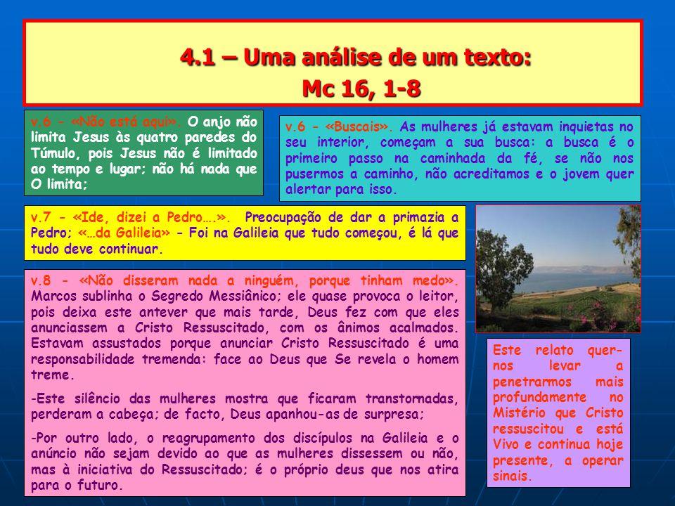 4.1 – Uma análise de um texto: Mc 16, 1-8 4.1 – Uma análise de um texto: Mc 16, 1-8 v.6 - «Não está aqui».
