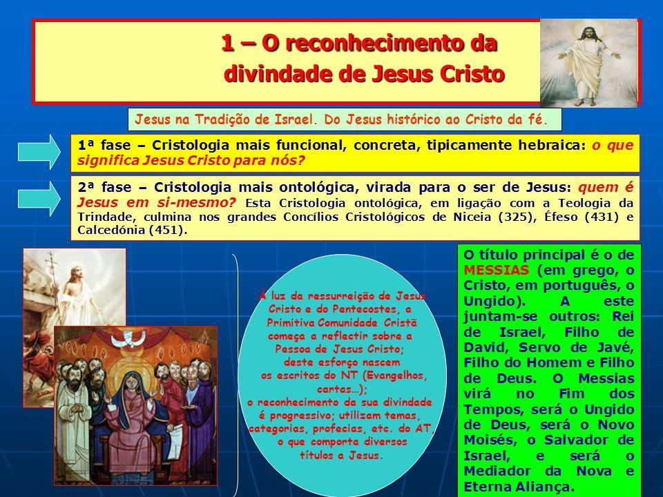 1 – O reconhecimento da divindade de Jesus Cristo 1 – O reconhecimento da divindade de Jesus Cristo Jesus na Tradição de Israel.