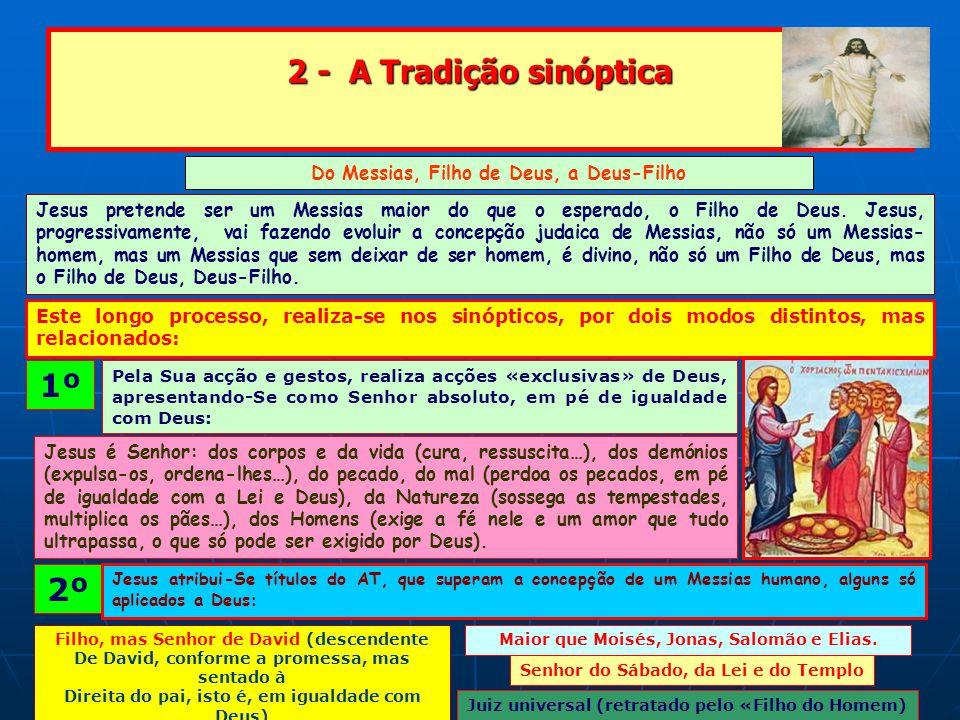 2 - A Tradição sinóptica Do Messias, Filho de Deus, a Deus-Filho Jesus pretende ser um Messias maior do que o esperado, o Filho de Deus.