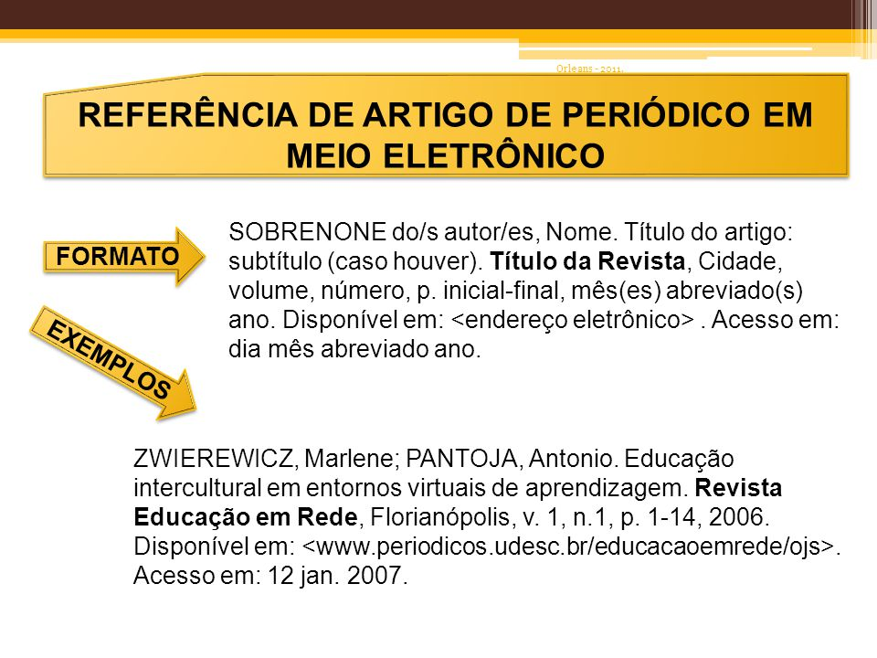 REFERÊNCIA DE ARTIGO PUBLICADO EM ANAIS DE EVENTO FORMATO EXEMPLO SOBRENOME DO AUTOR, Nome.
