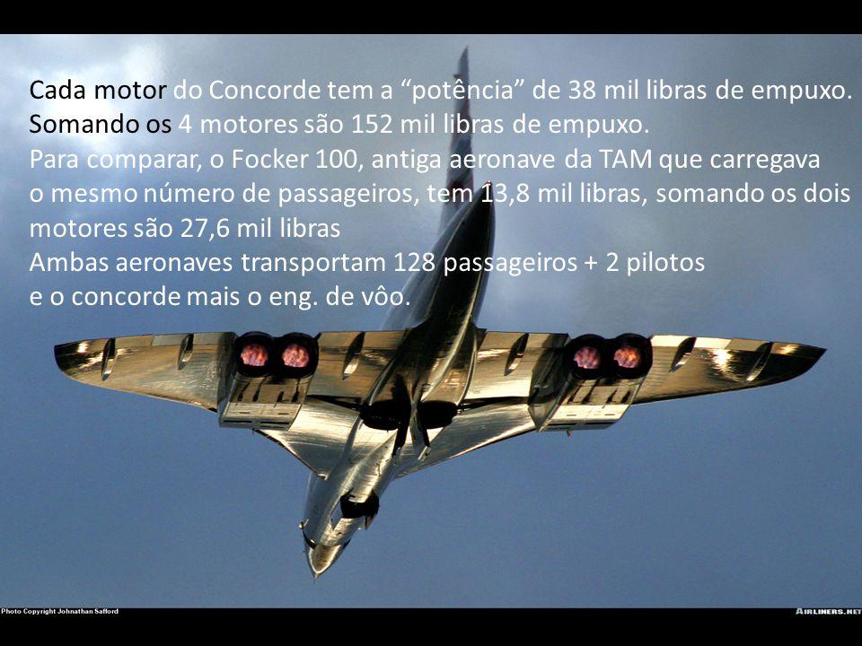 """Cada motor do Concorde tem a """"potência"""" de 38 mil libras de empuxo. Somando os 4 motores são 152 mil libras de empuxo. Para comparar, o Focker 100, an"""
