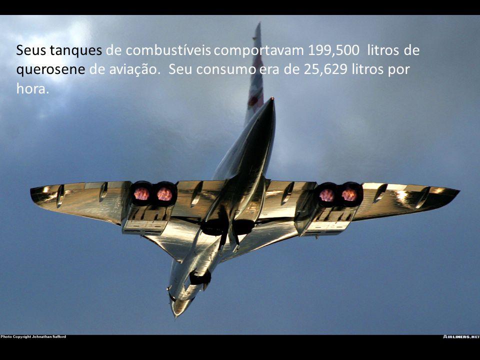 Seus tanques de combustíveis comportavam 199,500 litros de querosene de aviação. Seu consumo era de 25,629 litros por hora.
