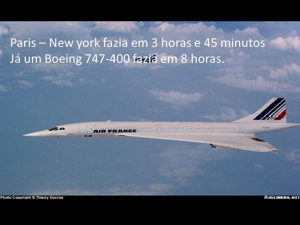 Paris – New york fazia em 3 horas e 45 minutos Já um Boeing 747-400 fazia em 8 horas.