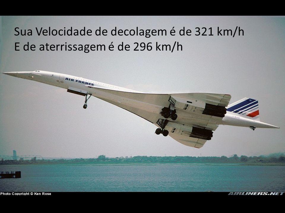 Sua Velocidade de decolagem é de 321 km/h E de aterrissagem é de 296 km/h