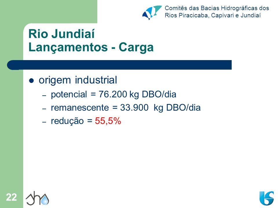 Comitês das Bacias Hidrográficas dos Rios Piracicaba, Capivari e Jundiaí 22 Rio Jundiaí Lançamentos - Carga origem industrial – potencial = 76.200 kg
