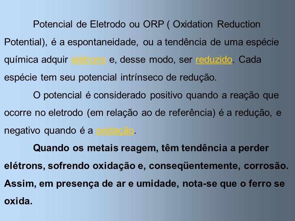 Potencial de Eletrodo ou ORP ( Oxidation Reduction Potential), é a espontaneidade, ou a tendência de uma espécie química adquir elétrons e, desse modo