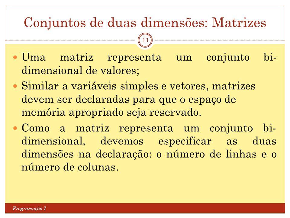 Conjuntos de duas dimensões: Matrizes Programação I 11 Uma matriz representa um conjunto bi- dimensional de valores; Similar a variáveis simples e vet