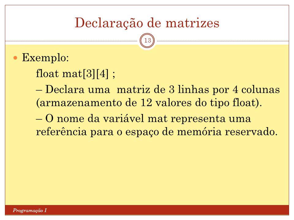 Declaração de matrizes Programação I 13 Exemplo: float mat[3][4] ; – Declara uma matriz de 3 linhas por 4 colunas (armazenamento de 12 valores do tipo