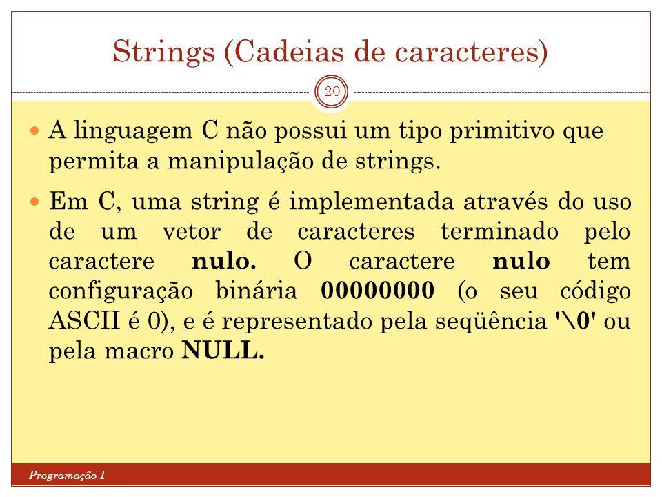 Strings (Cadeias de caracteres) Programação I 20 A linguagem C não possui um tipo primitivo que permita a manipulação de strings. Em C, uma string é i