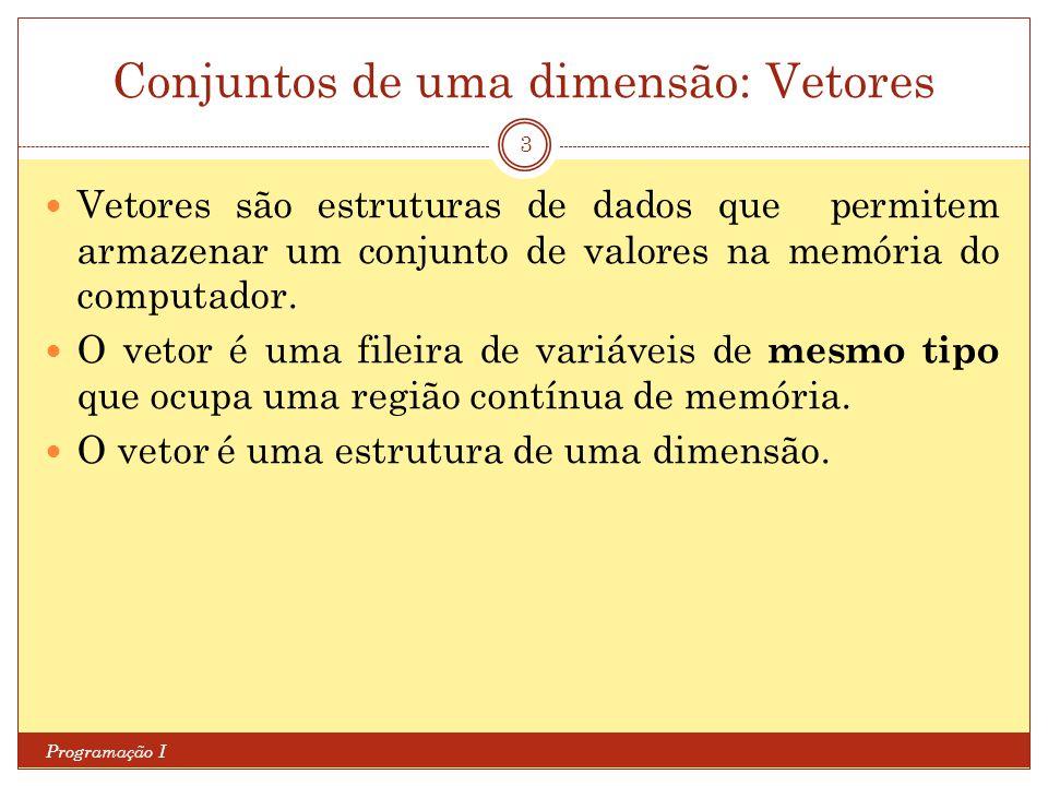 Conjuntos de uma dimensão: Vetores Programação I 3 Vetores são estruturas de dados que permitem armazenar um conjunto de valores na memória do computa