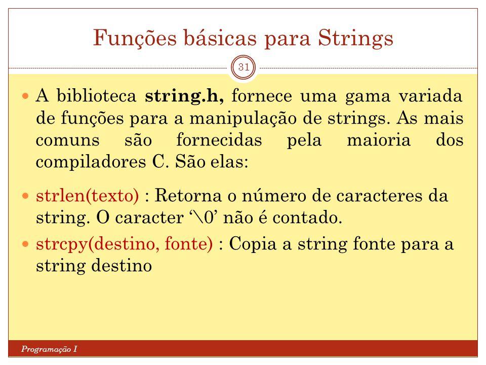 Funções básicas para Strings Programação I 31 A biblioteca string.h, fornece uma gama variada de funções para a manipulação de strings. As mais comuns