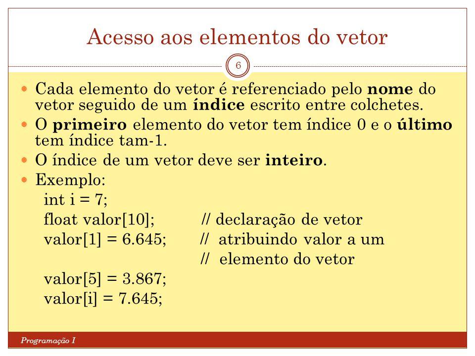 Acesso aos elementos do vetor Programação I 6 Cada elemento do vetor é referenciado pelo nome do vetor seguido de um índice escrito entre colchetes. O