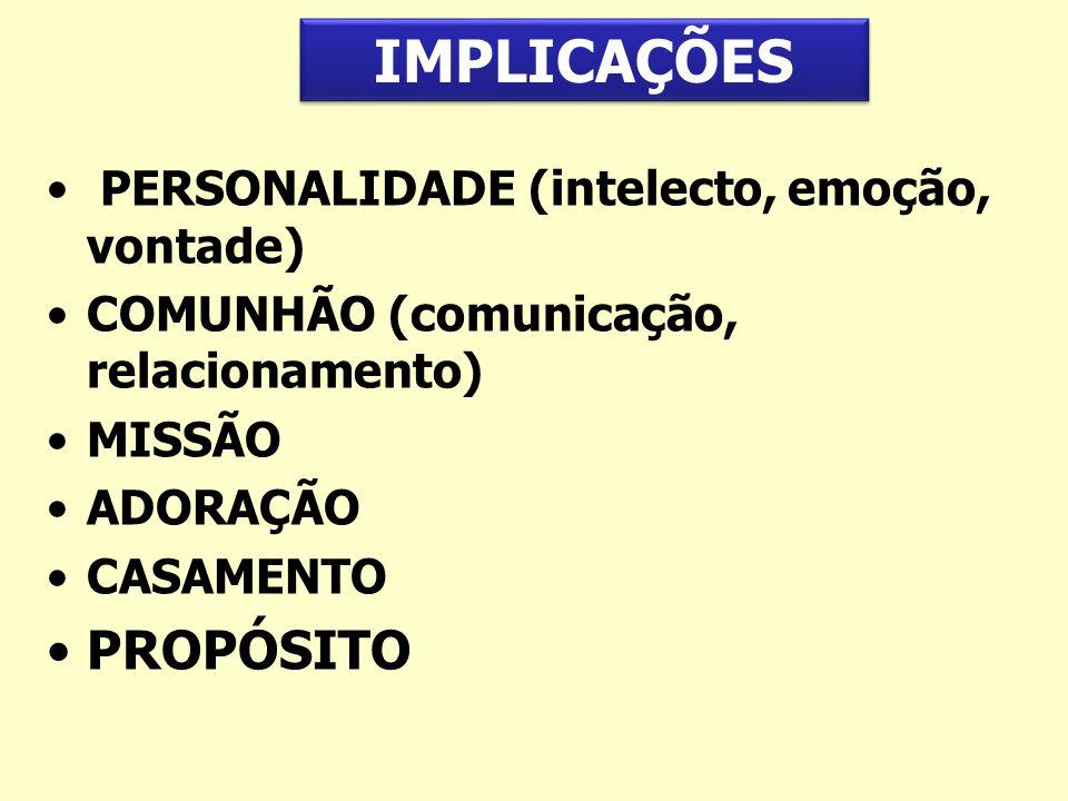 PERSONALIDADE (intelecto, emoção, vontade) COMUNHÃO (comunicação, relacionamento) MISSÃO ADORAÇÃO CASAMENTO PROPÓSITO IMPLICAÇÕES