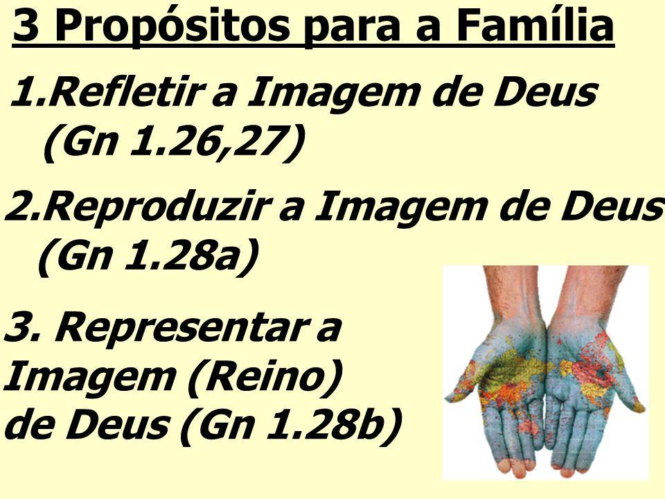 1.Refletir a Imagem de Deus (Gn 1.26,27) 2.Reproduzir a Imagem de Deus (Gn 1.28a) 3. Representar a Imagem (Reino) de Deus (Gn 1.28b) 3 Propósitos para