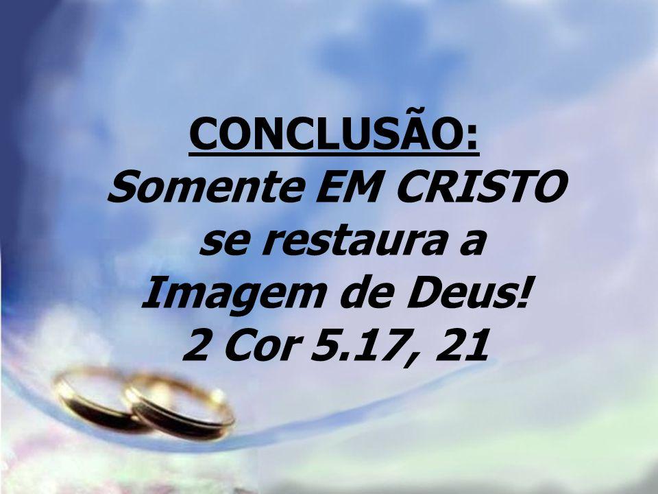 CONCLUSÃO: Somente EM CRISTO se restaura a Imagem de Deus! 2 Cor 5.17, 21