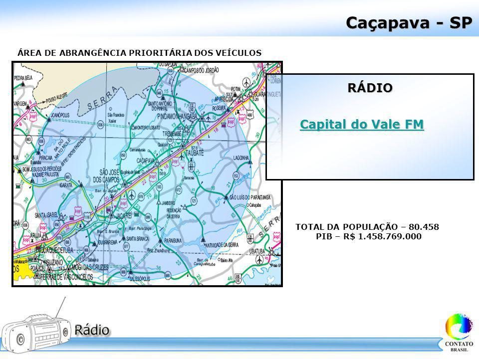 Caçapava - SP ÁREA DE ABRANGÊNCIA PRIORITÁRIA DOS VEÍCULOS TOTAL DA POPULAÇÃO – 80.458 PIB – R$ 1.458.769.000 RÁDIO RÁDIO Capital do Vale FM Capital d