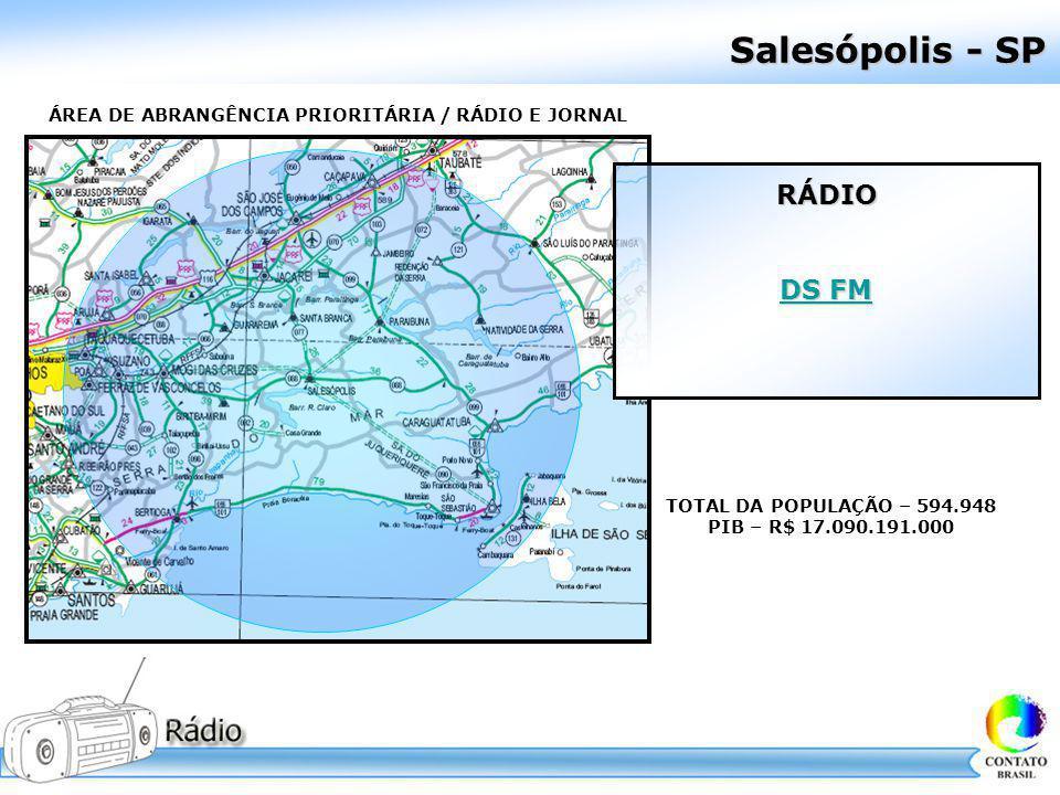 Salesópolis - SP ÁREA DE ABRANGÊNCIA PRIORITÁRIA / RÁDIO E JORNAL TOTAL DA POPULAÇÃO – 594.948 PIB – R$ 17.090.191.000 RÁDIO DS FM DS FM