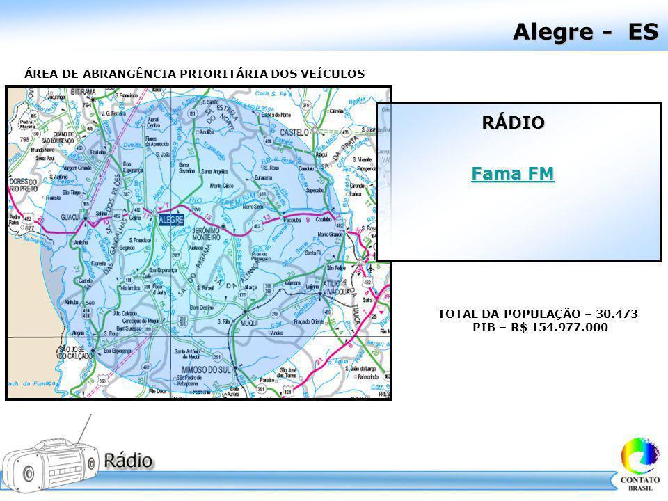 Alegre - ES ÁREA DE ABRANGÊNCIA PRIORITÁRIA DOS VEÍCULOS TOTAL DA POPULAÇÃO – 30.473 PIB – R$ 154.977.000 RÁDIO Fama FM Fama FM
