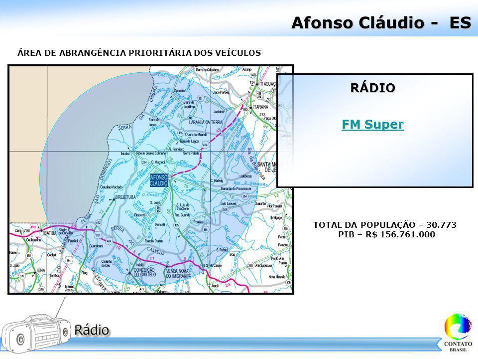 Afonso Cláudio - ES ÁREA DE ABRANGÊNCIA PRIORITÁRIA DOS VEÍCULOS TOTAL DA POPULAÇÃO – 30.773 PIB – R$ 156.761.000 RÁDIO FM Super FM Super