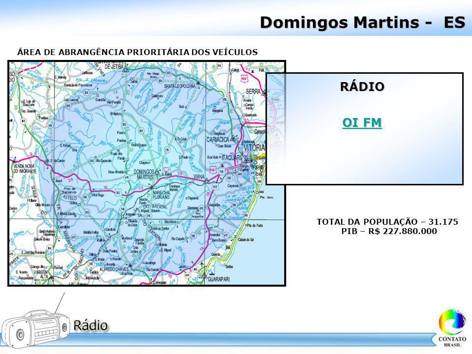 Domingos Martins - ES ÁREA DE ABRANGÊNCIA PRIORITÁRIA DOS VEÍCULOS TOTAL DA POPULAÇÃO – 31.175 PIB – R$ 227.880.000 RÁDIO OI FM OI FM