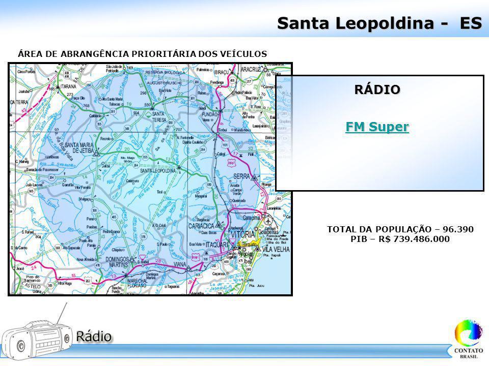 Santa Leopoldina - ES ÁREA DE ABRANGÊNCIA PRIORITÁRIA DOS VEÍCULOS TOTAL DA POPULAÇÃO – 96.390 PIB – R$ 739.486.000 RÁDIO FM Super FM Super