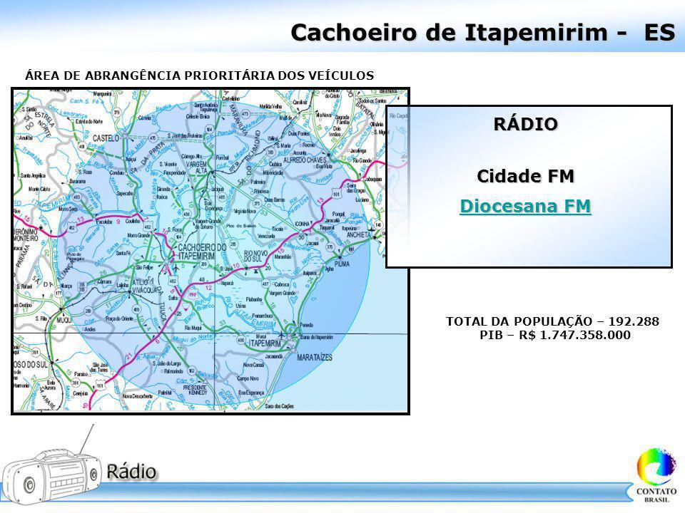 Cachoeiro de Itapemirim - ES ÁREA DE ABRANGÊNCIA PRIORITÁRIA DOS VEÍCULOS TOTAL DA POPULAÇÃO – 192.288 PIB – R$ 1.747.358.000 RÁDIO Cidade FM Diocesan