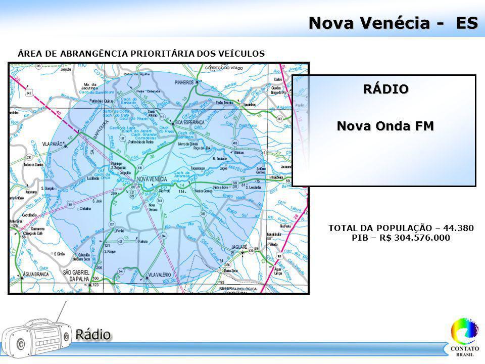 Nova Venécia - ES ÁREA DE ABRANGÊNCIA PRIORITÁRIA DOS VEÍCULOS TOTAL DA POPULAÇÃO – 44.380 PIB – R$ 304.576.000 RÁDIO Nova Onda FM