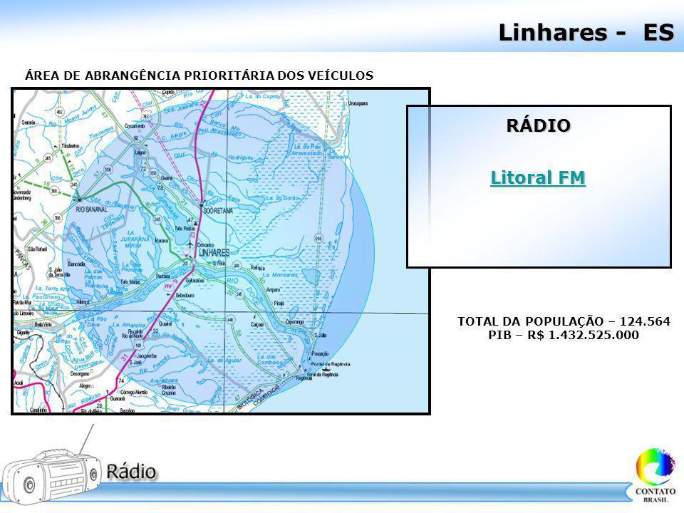 Linhares - ES ÁREA DE ABRANGÊNCIA PRIORITÁRIA DOS VEÍCULOS TOTAL DA POPULAÇÃO – 124.564 PIB – R$ 1.432.525.000 RÁDIO Litoral FM Litoral FM