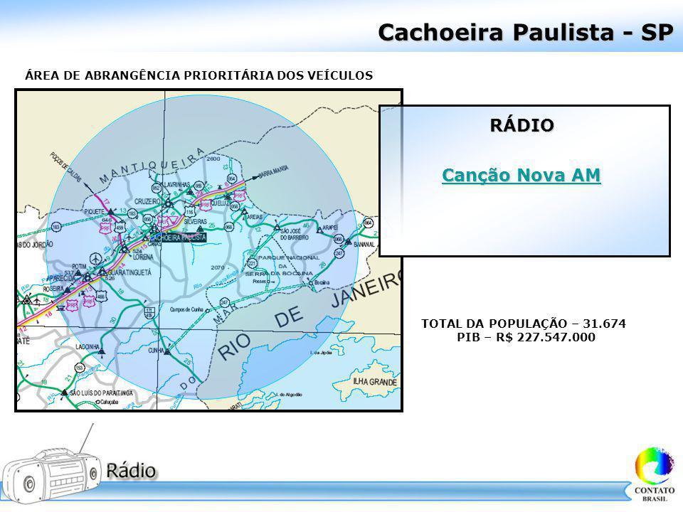 Cachoeira Paulista - SP ÁREA DE ABRANGÊNCIA PRIORITÁRIA DOS VEÍCULOS TOTAL DA POPULAÇÃO – 31.674 PIB – R$ 227.547.000 RÁDIO Canção Nova AM Canção Nova
