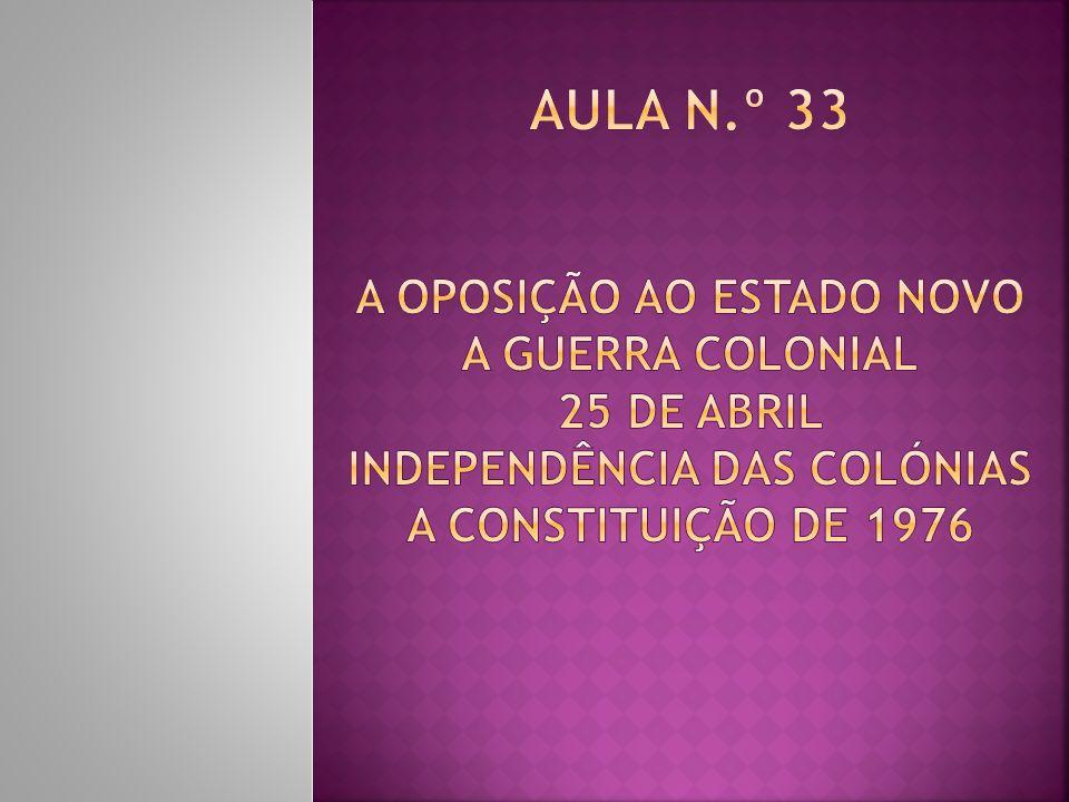 A Constituição de 1976 e o restabelecimento da democracia Era necessário substituir a Constituição de 1933 por uma nova Constituição que incluísse as liberdades conquistadas.