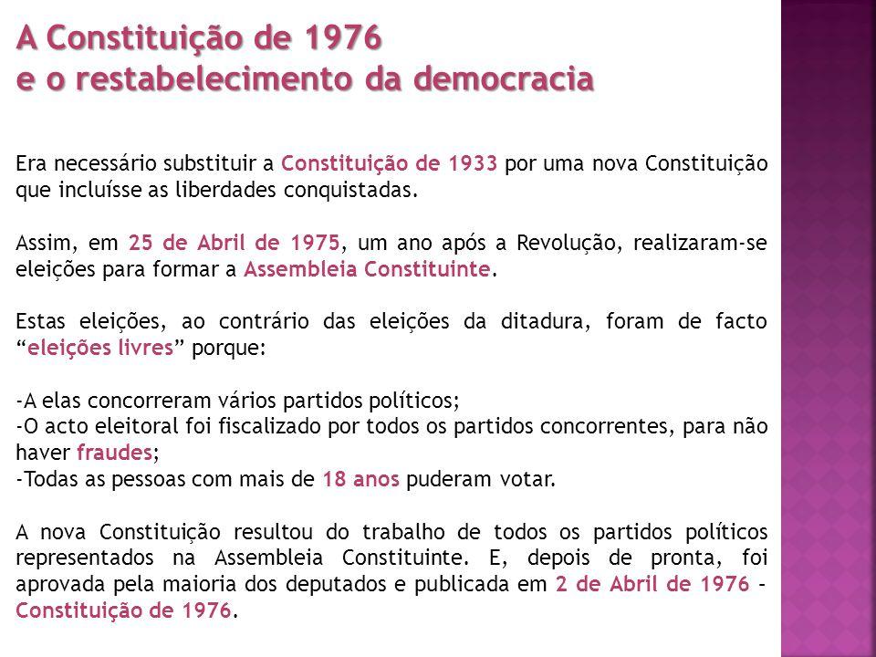 A Constituição de 1976 e o restabelecimento da democracia Era necessário substituir a Constituição de 1933 por uma nova Constituição que incluísse as
