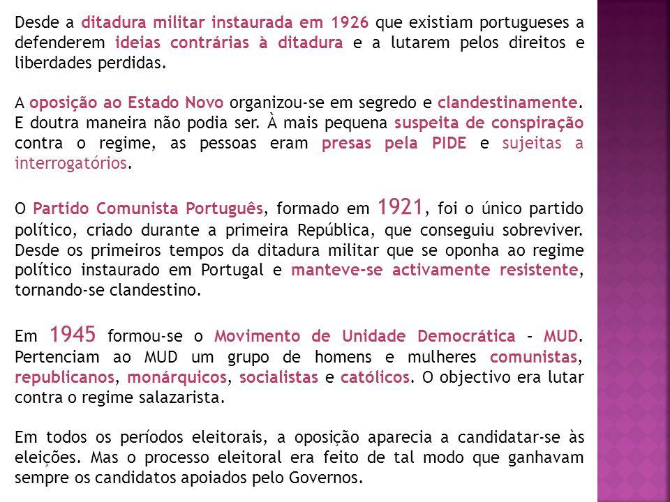 Desde a ditadura militar instaurada em 1926 que existiam portugueses a defenderem ideias contrárias à ditadura e a lutarem pelos direitos e liberdades