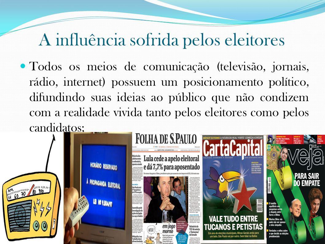 A influência sofrida pelos eleitores Todos os meios de comunicação (televisão, jornais, rádio, internet) possuem um posicionamento político, difundindo suas ideias ao público que não condizem com a realidade vivida tanto pelos eleitores como pelos candidatos;