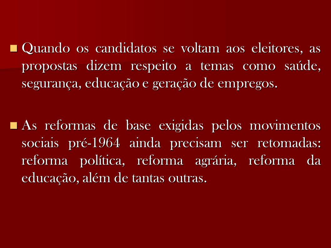 Quando os candidatos se voltam aos eleitores, as propostas dizem respeito a temas como saúde, segurança, educação e geração de empregos.