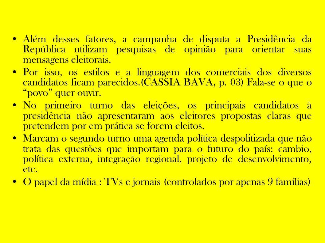 Além desses fatores, a campanha de disputa a Presidência da República utilizam pesquisas de opinião para orientar suas mensagens eleitorais.