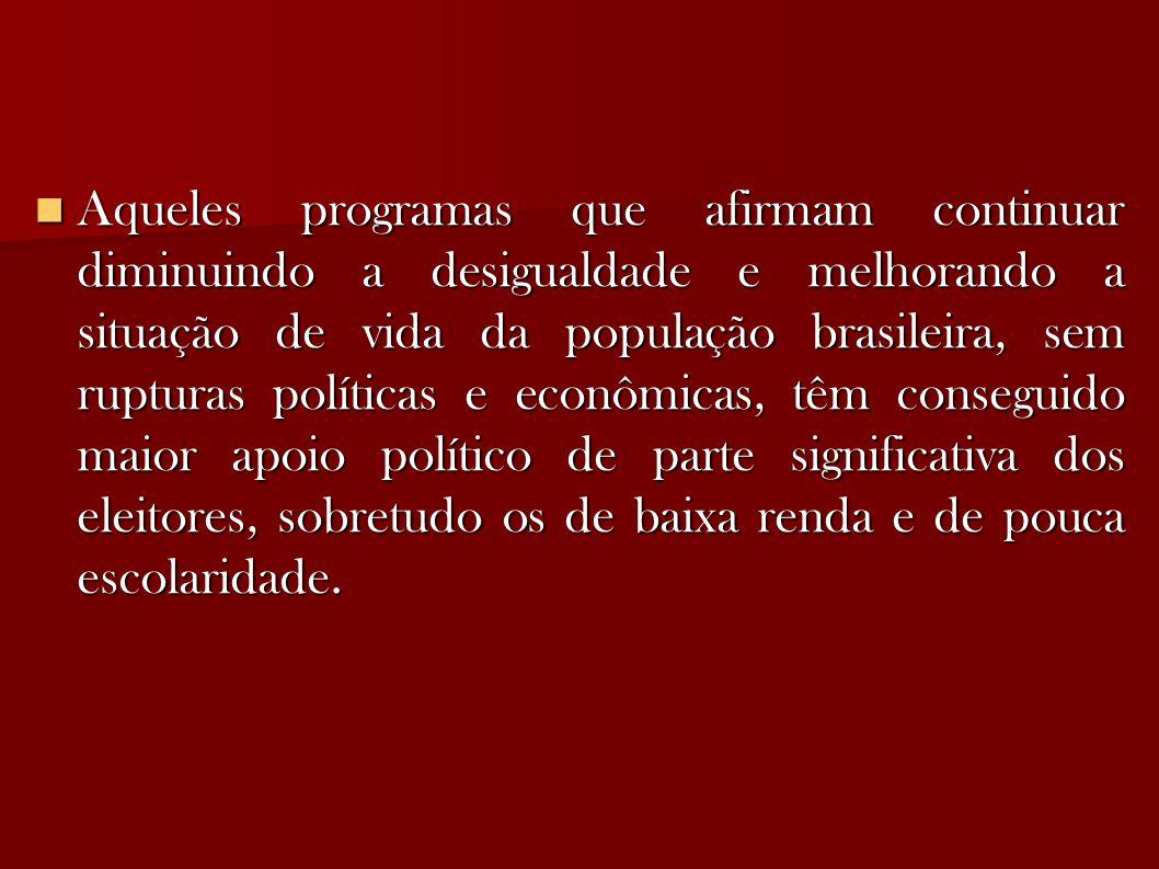 Aqueles programas que afirmam continuar diminuindo a desigualdade e melhorando a situação de vida da população brasileira, sem rupturas políticas e econômicas, têm conseguido maior apoio político de parte significativa dos eleitores, sobretudo os de baixa renda e de pouca escolaridade.