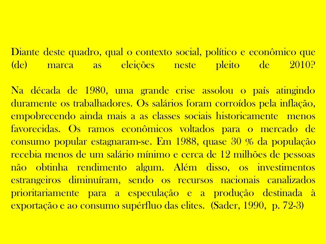Diante deste quadro, qual o contexto social, político e econômico que (de) marca as eleições neste pleito de 2010.