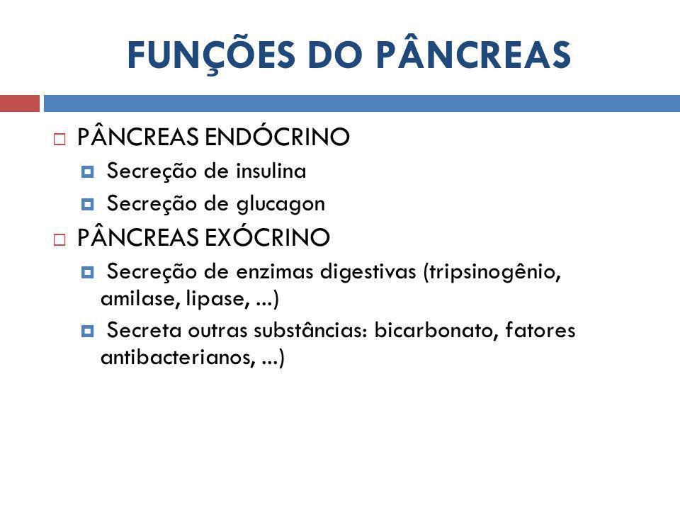 FUNÇÕES DO PÂNCREAS  PÂNCREAS ENDÓCRINO  Secreção de insulina  Secreção de glucagon  PÂNCREAS EXÓCRINO  Secreção de enzimas digestivas (tripsinogênio, amilase, lipase,...)  Secreta outras substâncias: bicarbonato, fatores antibacterianos,...)