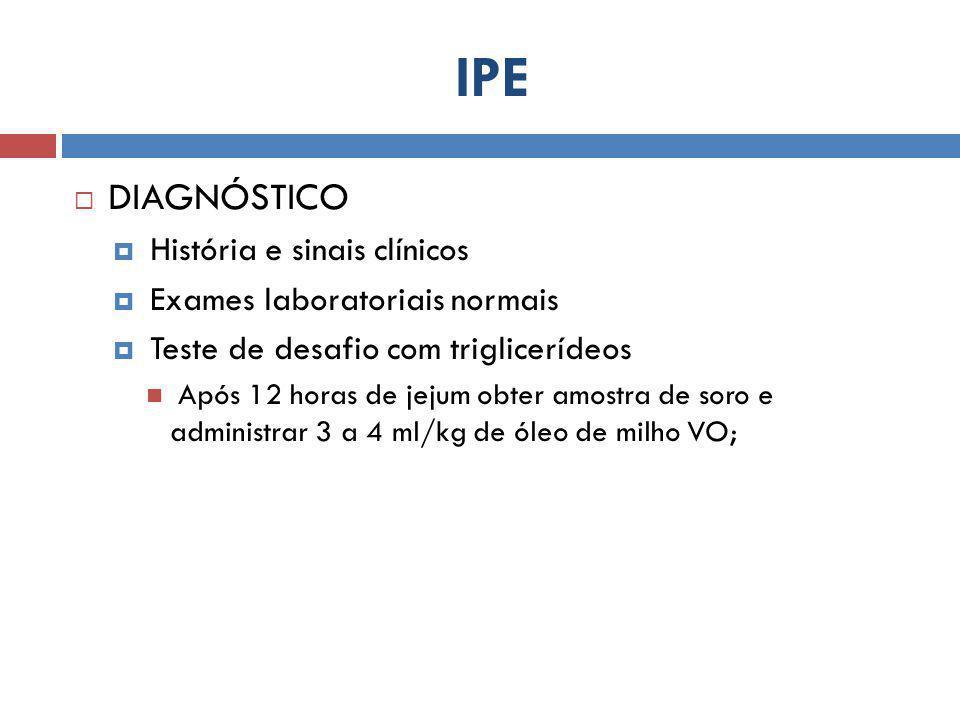 IPE  DIAGNÓSTICO  História e sinais clínicos  Exames laboratoriais normais  Teste de desafio com triglicerídeos Após 12 horas de jejum obter amost