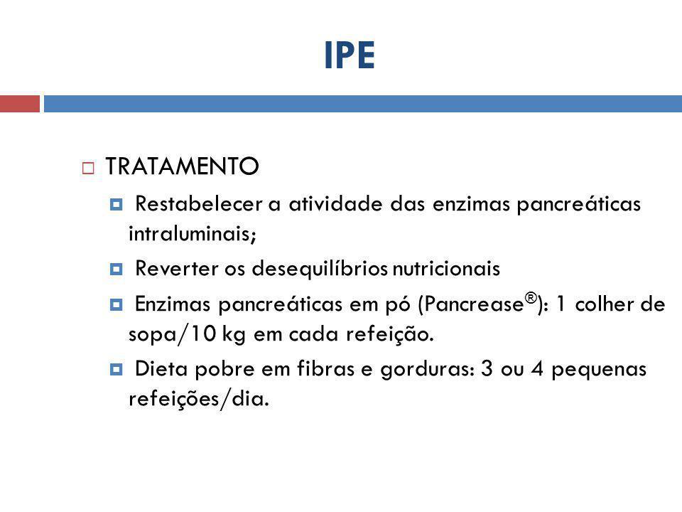  TRATAMENTO  Restabelecer a atividade das enzimas pancreáticas intraluminais;  Reverter os desequilíbrios nutricionais  Enzimas pancreáticas em pó (Pancrease ® ): 1 colher de sopa/10 kg em cada refeição.