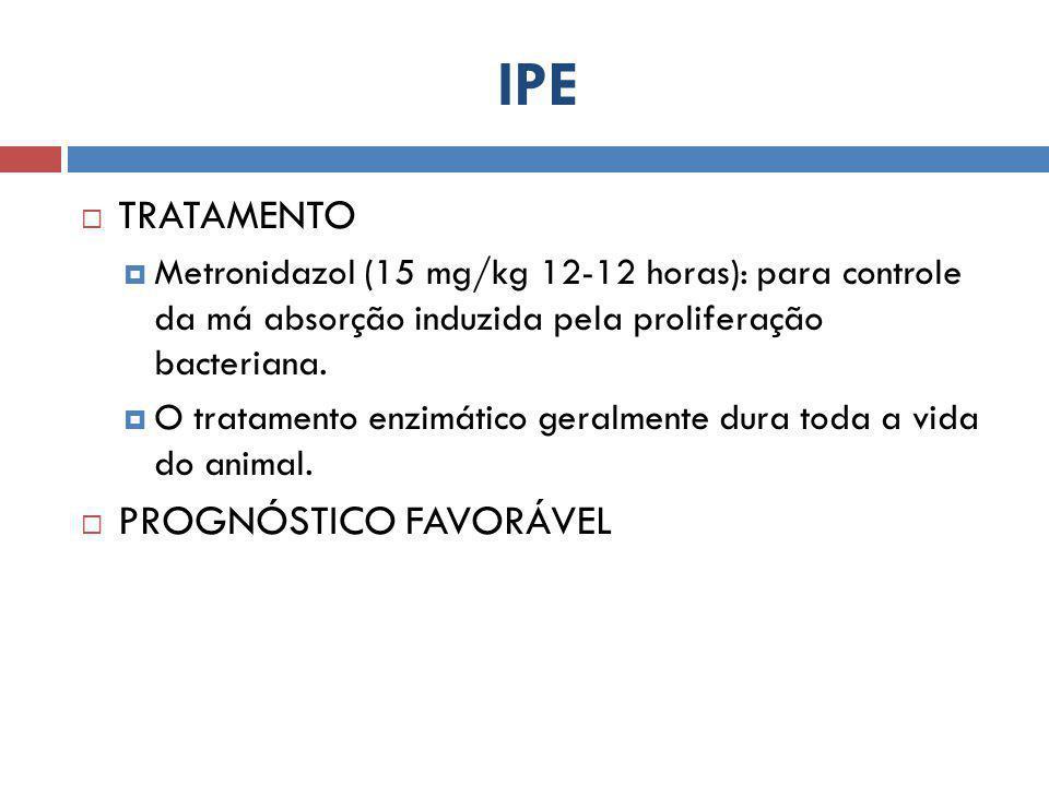 IPE  TRATAMENTO  Metronidazol (15 mg/kg 12-12 horas): para controle da má absorção induzida pela proliferação bacteriana.  O tratamento enzimático