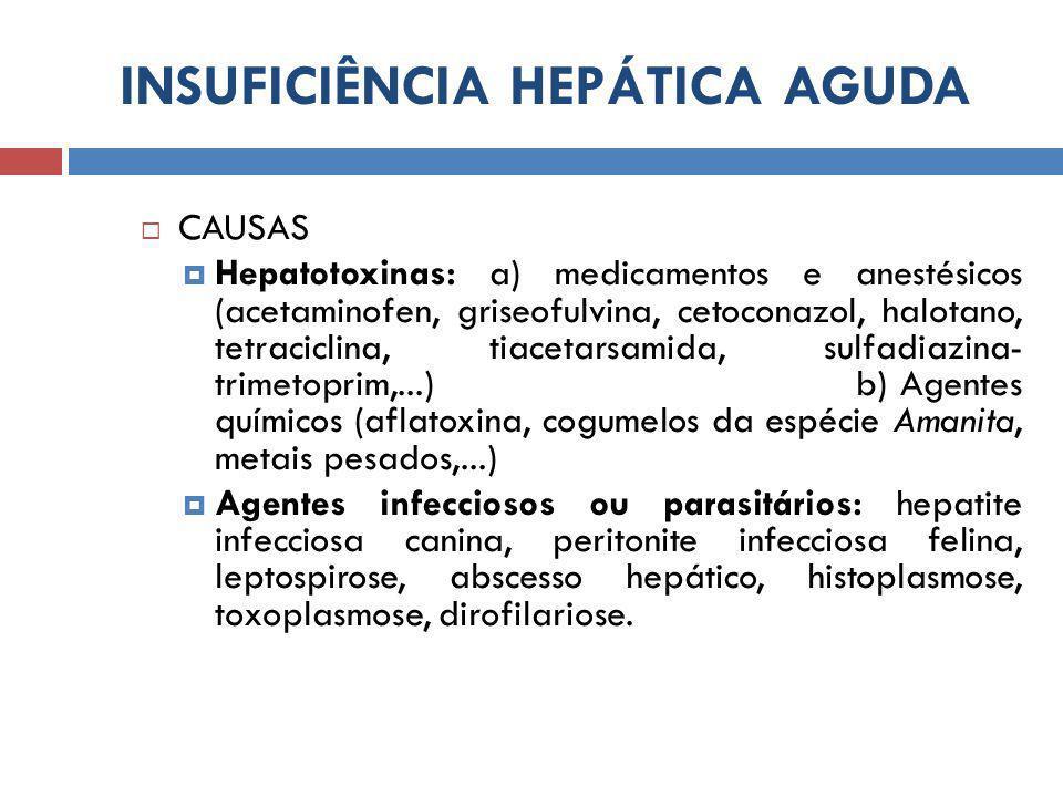 INSUFICIÊNCIA HEPÁTICA AGUDA  CAUSAS  Hepatotoxinas: a) medicamentos e anestésicos (acetaminofen, griseofulvina, cetoconazol, halotano, tetraciclina, tiacetarsamida, sulfadiazina- trimetoprim,...) b) Agentes químicos (aflatoxina, cogumelos da espécie Amanita, metais pesados,...)  Agentes infecciosos ou parasitários: hepatite infecciosa canina, peritonite infecciosa felina, leptospirose, abscesso hepático, histoplasmose, toxoplasmose, dirofilariose.